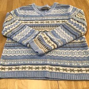Sweater Women, Large, Blue /White/ Croft & Barrow